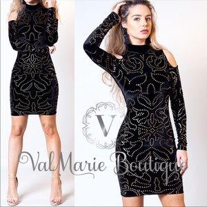 🌹LAST 2- Velvet Gold Foil Dress